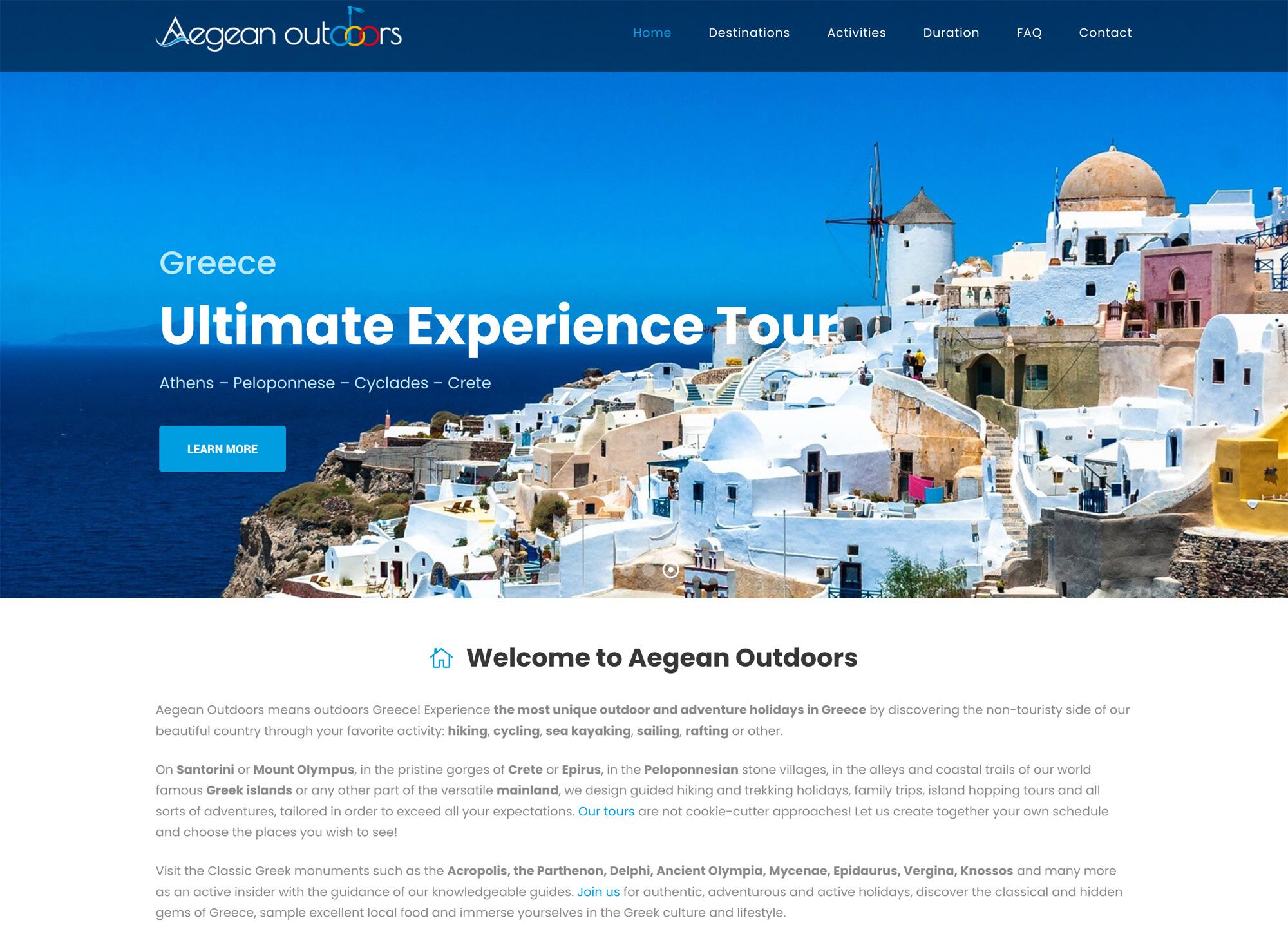 Aegean Outdoors website design